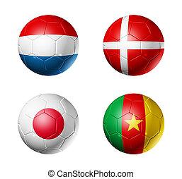 soccer world cup group E flags on soccer balls