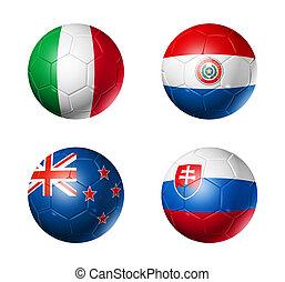 soccer world cup group F flags on soccer balls - 3D soccer ...
