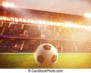 Soccerball at the stadium during sunset - Soccerball on the...