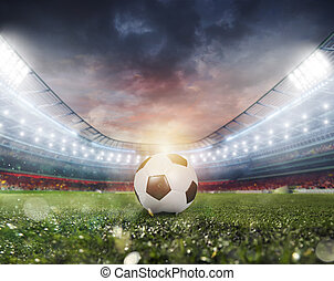 Soccerball at the stadium ready for match