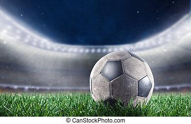 soccerball, -ban, a, stadion, hajlandó, helyett,...