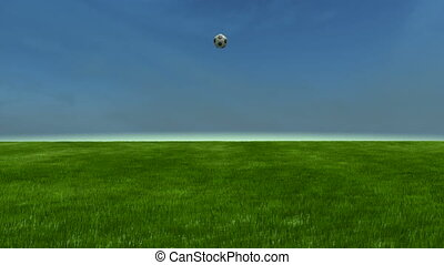 Soccerball bounces to cam slomo - C - Soccerball bounces on...