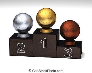 Soccerball dark wood podium