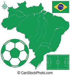 soccerball, en, mapa, de, brazil.eps