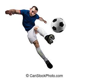 soccerball, háttér., elszigetelt, játékos, hajlandó, play.,...