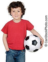 soccerball, menino, adorável