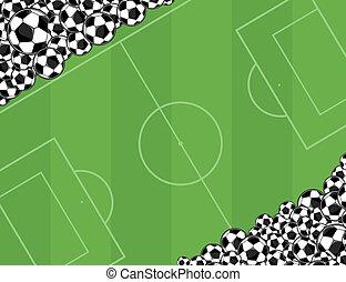 soccerballs, playingfield, háttér