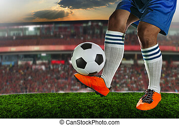 soccer,football players playing on grass field of sport...