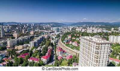 Sochi City Time Lapse - View of Sochi city from skyscraper...