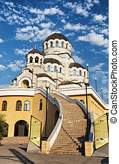 long stone staircase leading to the Shrine of the miraculous image of Christ the Savior