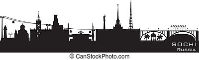 Sochi Russia city skyline Detailed silhouette