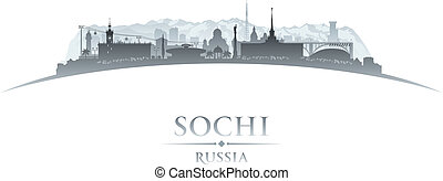 Sochi Russia city skyline silhouette white background