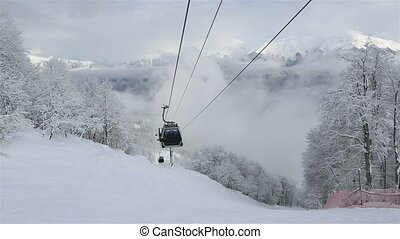 Gondola ski lift in Rosa Khutor Alpine Resort
