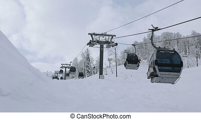 Gondola ski lift in Rosa Khutor Alpine Resort - Sochi,...