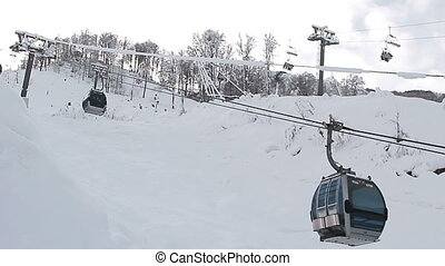 Cable Car railway in ski resort - Sochi, Russian Federation...