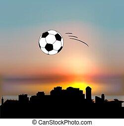Sochi vector skyline with football ball