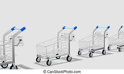 société, motion., concept, consommateur, trolleys