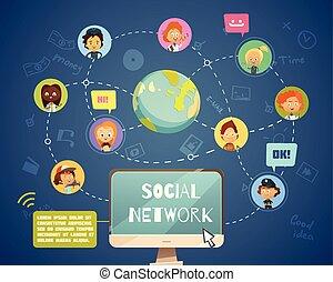 sociaal, anders, mensen, networking, beroepen