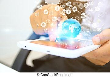 sociaal, concept, netwerk, media