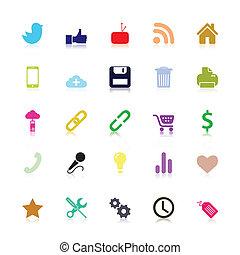 sociaal, gekleurde, iconen
