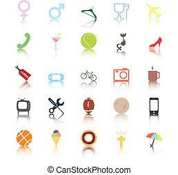 sociaal, icons., mensen, interests.