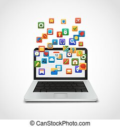 sociaal, laptop., netwerk, wolk, iconen