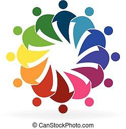 sociaal, logo, mensen, media