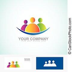 sociaal, logo, mensen, pictogram, media