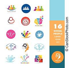 sociaal, logo, mensen, set, media