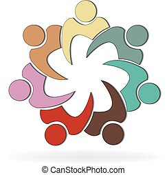 sociaal, logo, mensen, teamwork, media