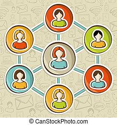 sociaal, marketing, wisselwerking, netten, online