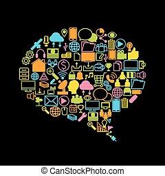 sociaal, media, achtergrond, pictogram