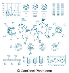 sociaal, media, blauwe , infographic, communie
