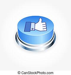 sociaal, media, concept., blauwe , zoals, knoop, in,...