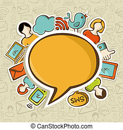 sociaal, media, concept, netten, communicatie