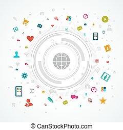 sociaal, media, concept, wereld