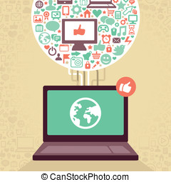 sociaal, media, draagbare computer, vector, iconen