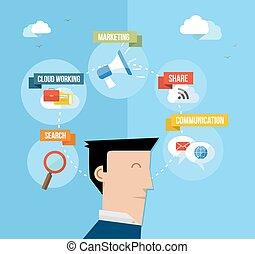 sociaal, media, gebruiker, concept, plat, illustratie