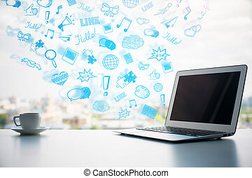 sociaal, media, iconen
