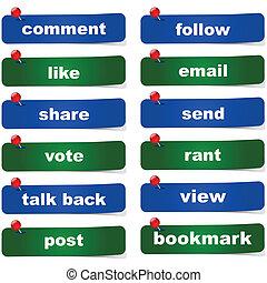 sociaal, media, knopen