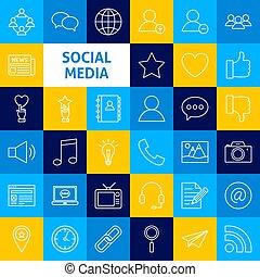 sociaal, media, lijn, vector, iconen