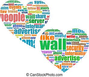 sociaal, media, marketing, -, woord, wolk, in, hart