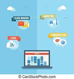 sociaal, media, netwerk, concept, plat, illustratie