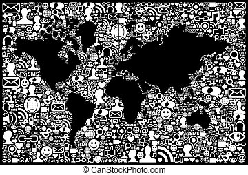 sociaal, media, netwerk, pictogram, aarde kaart