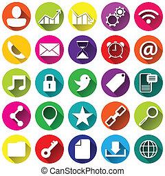 sociaal, media, plat, iconen