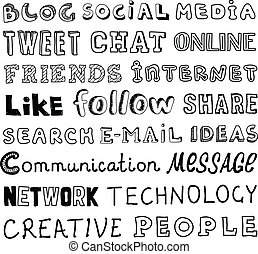 sociaal, media, schets, vector, tekst