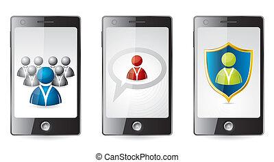 sociaal, media, smartphone, iconen
