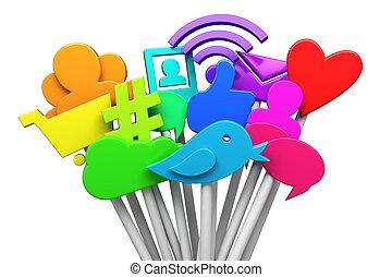 sociaal, media, symbolen