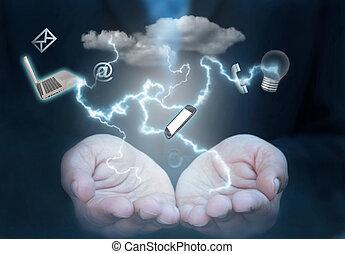 sociaal, media, technologie, wolk