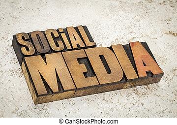 sociaal, media, tekst, in, hout, type